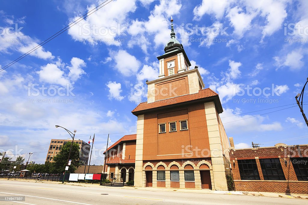 Copernicus Foundation clock tower in Chicago stock photo