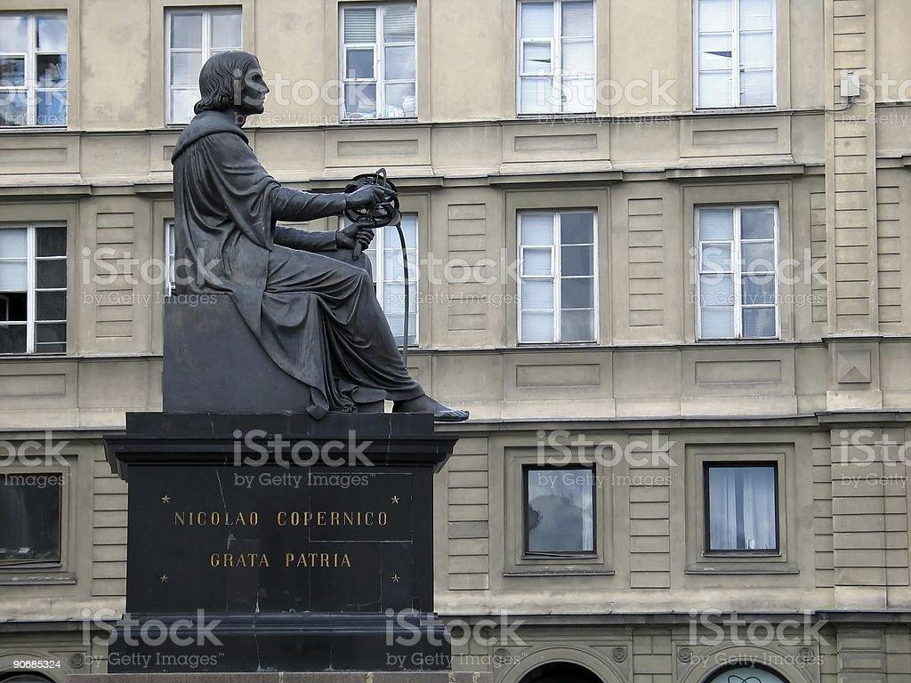 Copernicus memorial in Warsaw stock photo