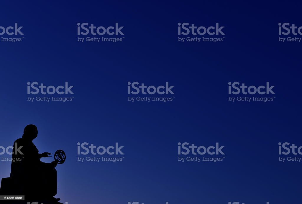 Copernicus monument against blue, empty sky, Chicago. stock photo
