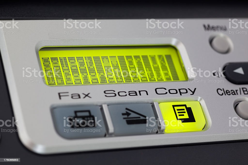 Copier with copy option selected and ready to execute stock photo