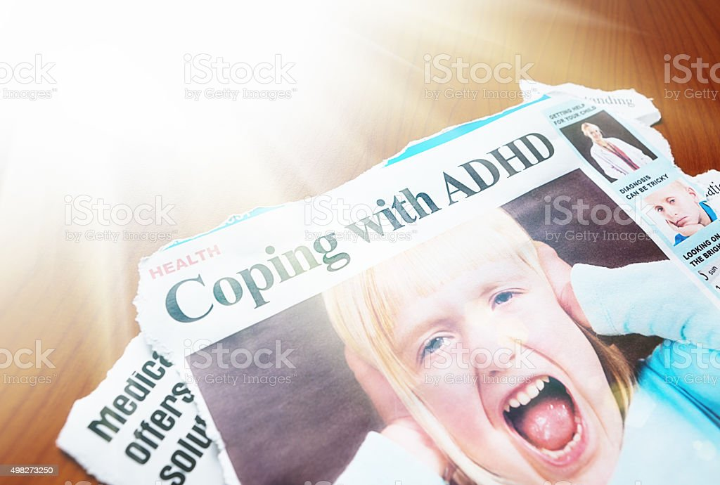 'Coping with ADHD' article illustrated with screaming little girl stock photo