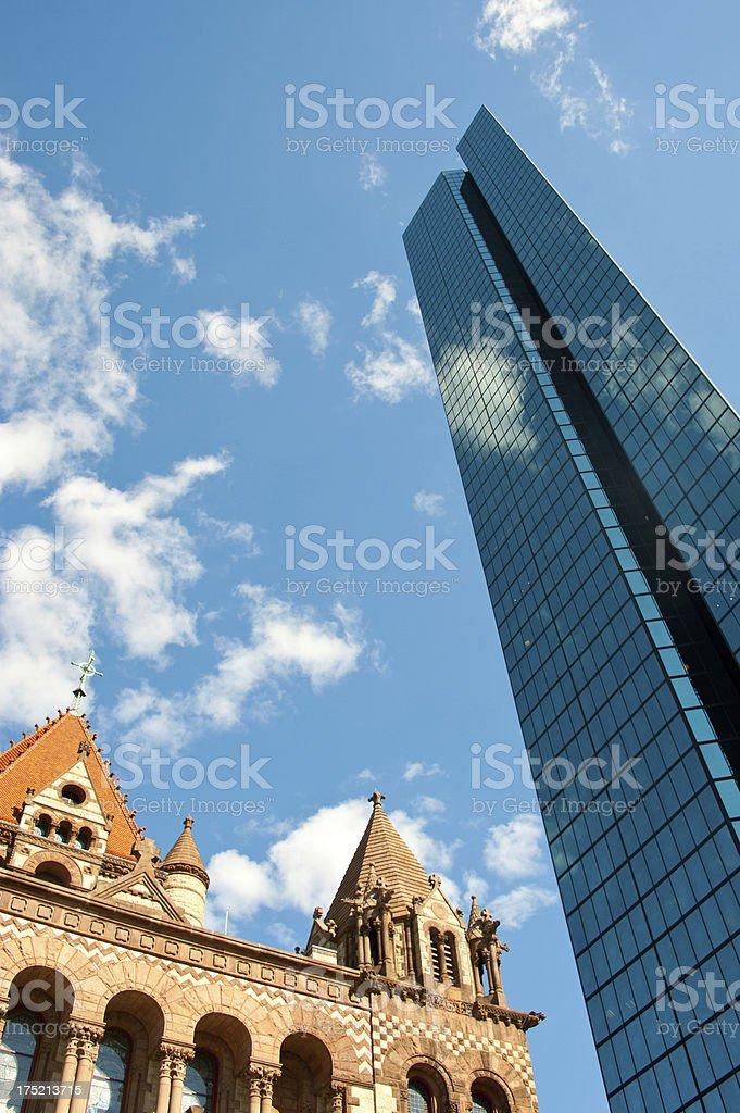 Copley Square, Boston with Trinity Church in Boston royalty-free stock photo