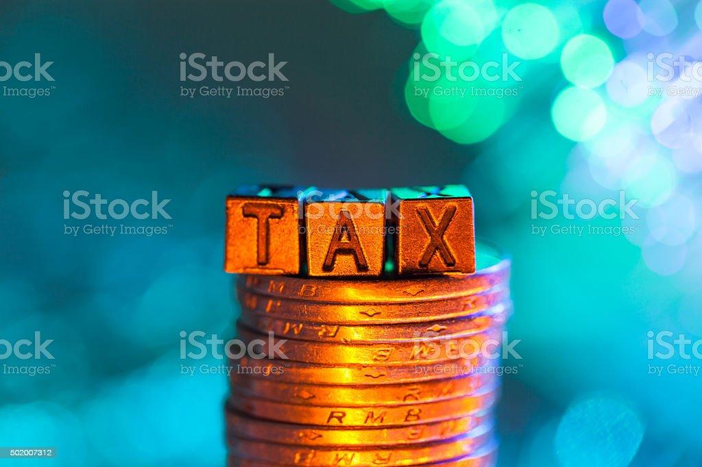 TAX copper alphabet stock photo