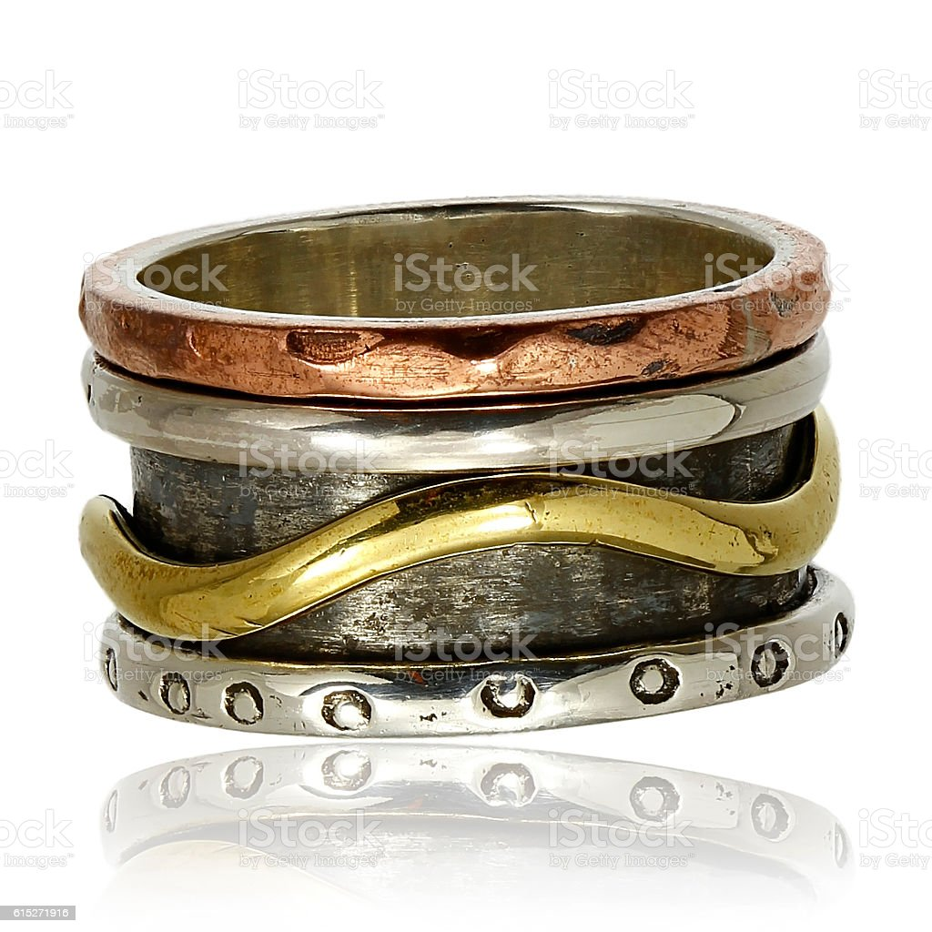 Copper and silver ring stock photo