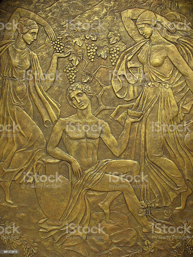 Copper bas-relief on the basis of ancient Greek myths royalty-free stock photo