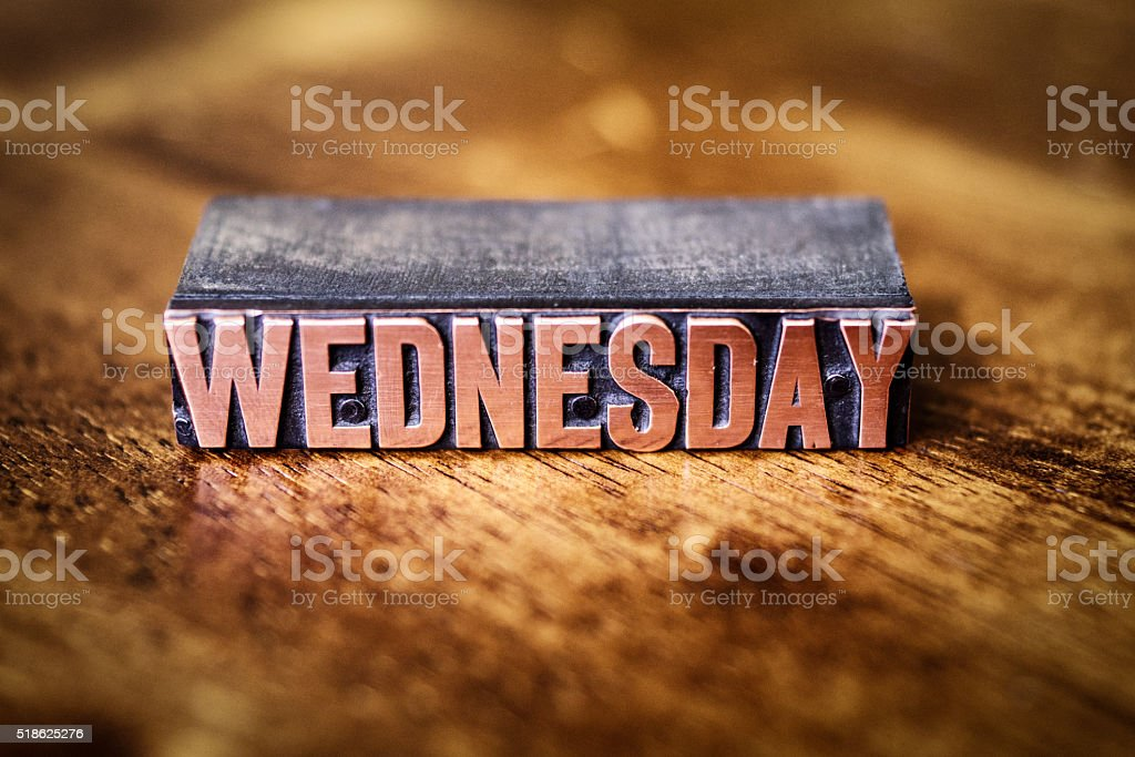 Copper Bronze Letter Press Day of the Week-Wednesday stock photo