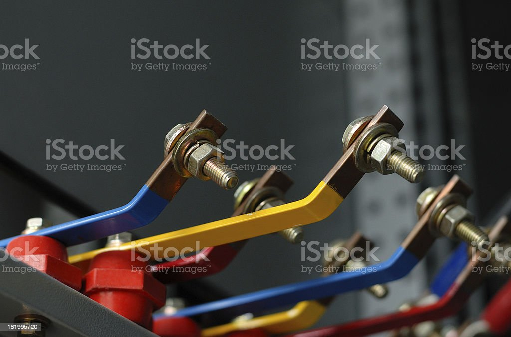 Copper busbar and screw part of an distribution panel royalty-free stock photo