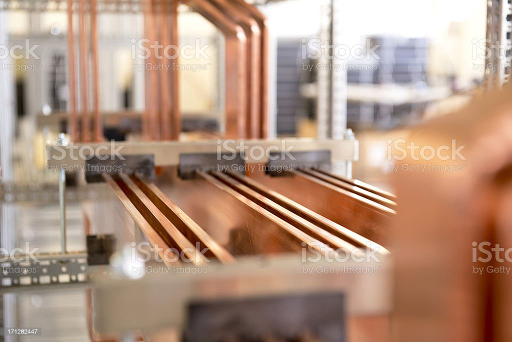 copper busbar stock photo