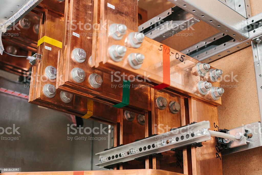 Copper busbar. Uninterrupted power. Electrical power. stock photo