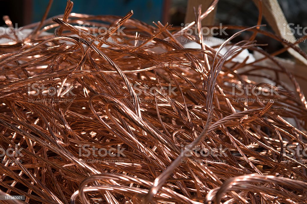 copper cable scrap metal recycled royalty-free stock photo