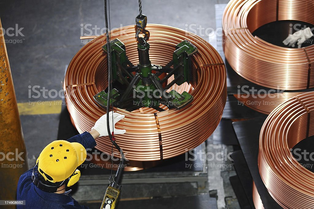 Copper cables in warehouse stock photo