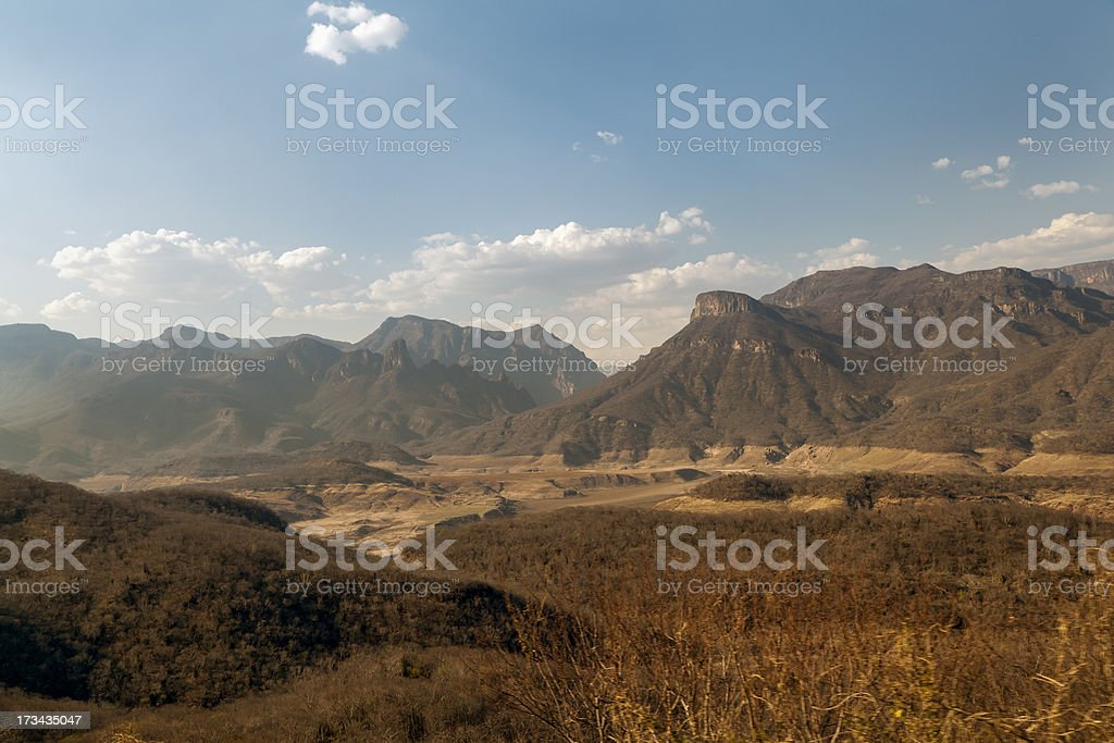 Copper canyon mountains in Mexico stock photo