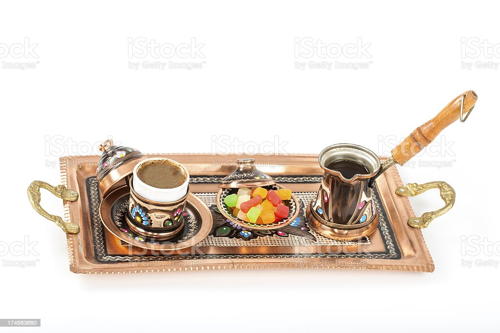 Copper coffee cup and Turkish delight royalty-free stock photo