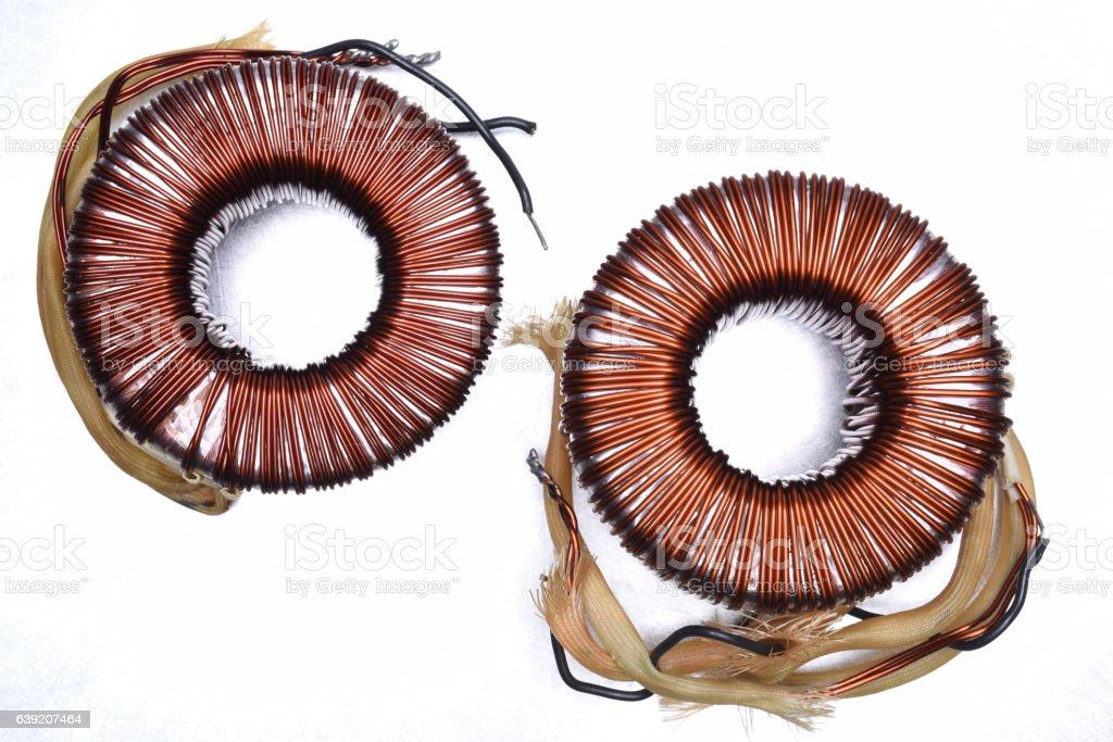 Copper Coils Transformer stock photo