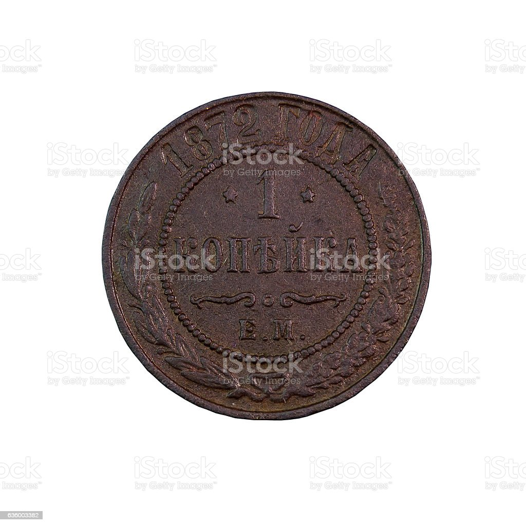 copper coin 1 penny 1872 stock photo