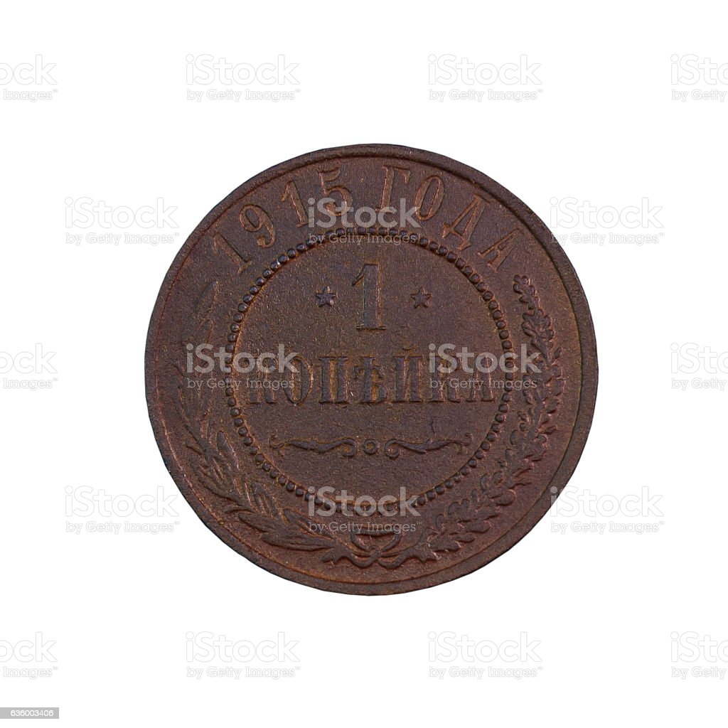 copper coin 1 penny 1915 stock photo
