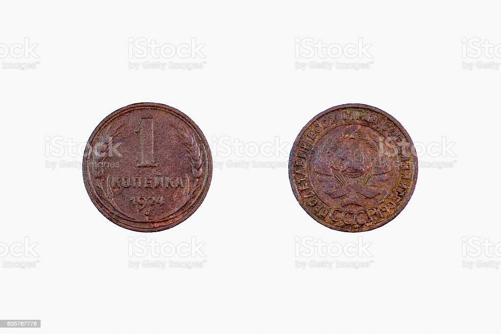 copper coin 1 penny 1924 stock photo