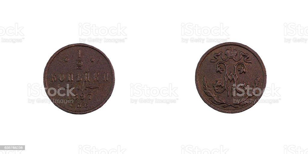 copper coin of the Russian Empire stock photo