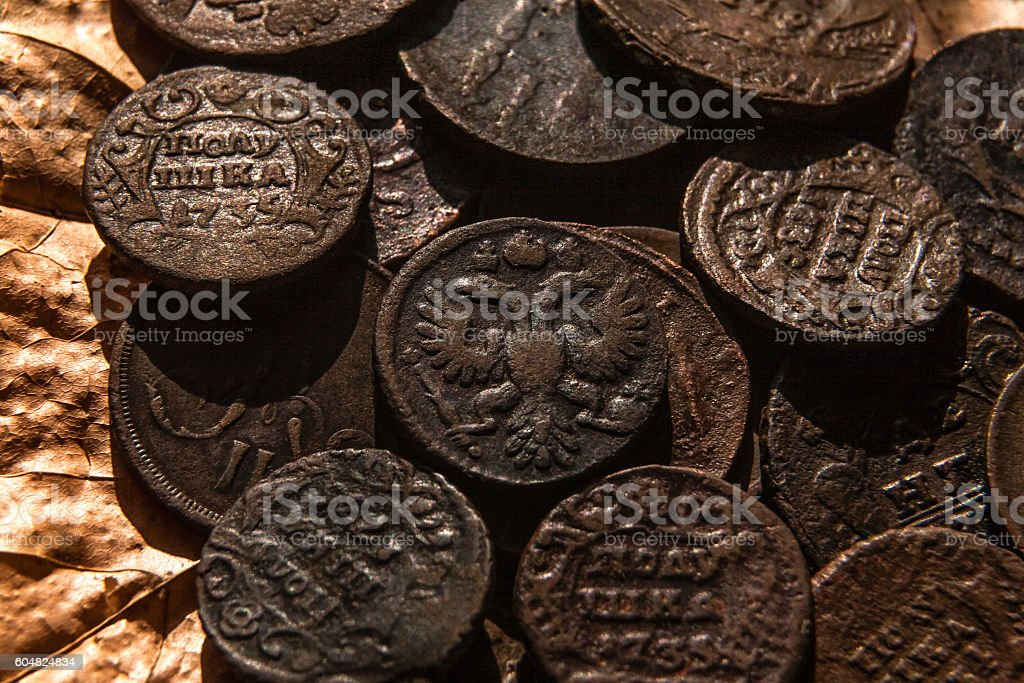 copper coins in oxides stock photo