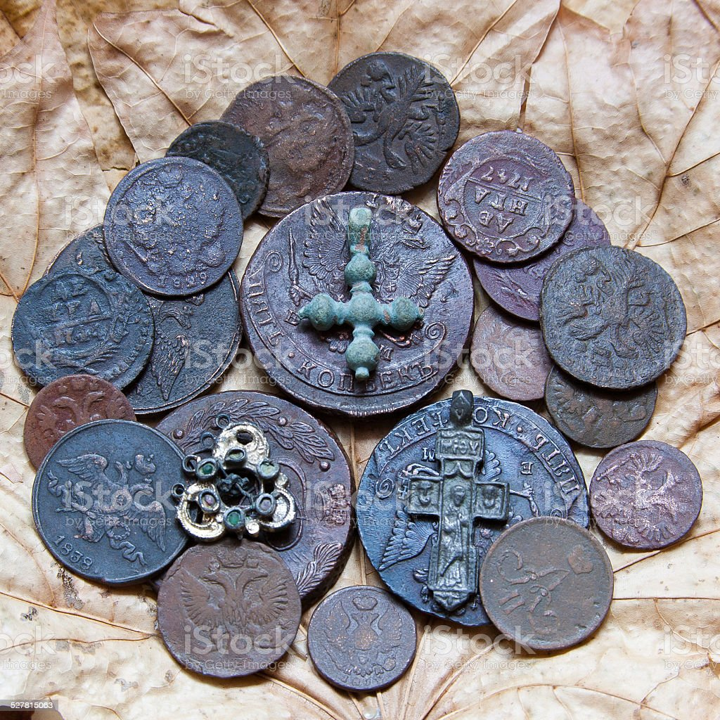copper coins stock photo