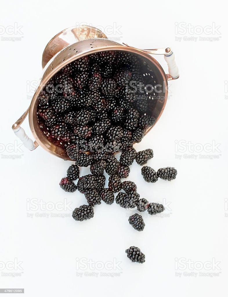 Copper Colander with Fresh Blackberries stock photo