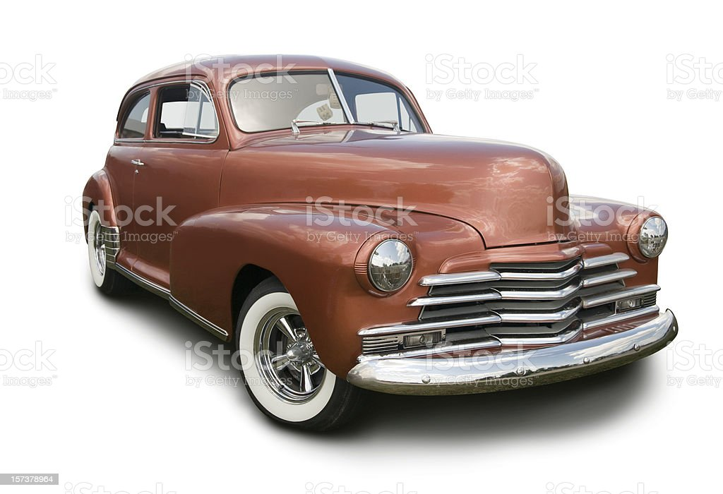 Copper colored hot rod coupe on white background stock photo