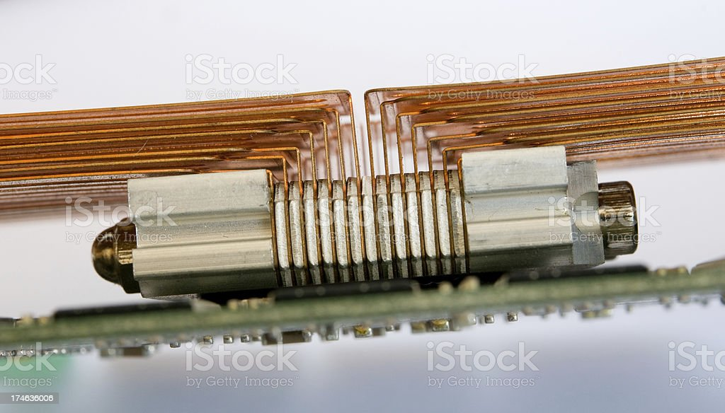 Copper cooler on circuit board stock photo