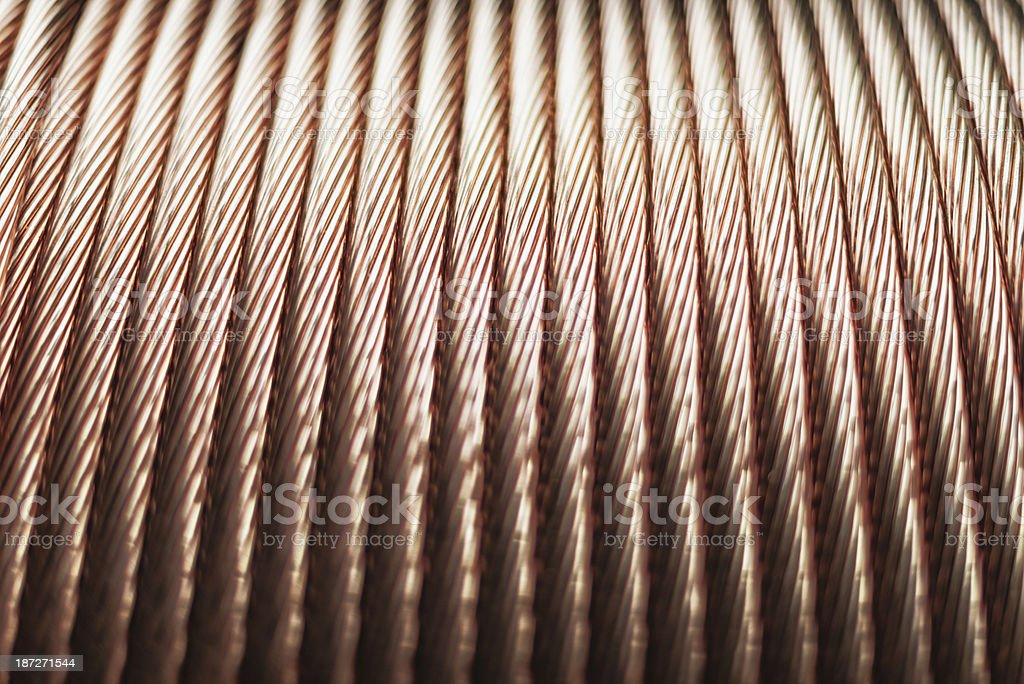 copper cord wire on cable roll stock photo
