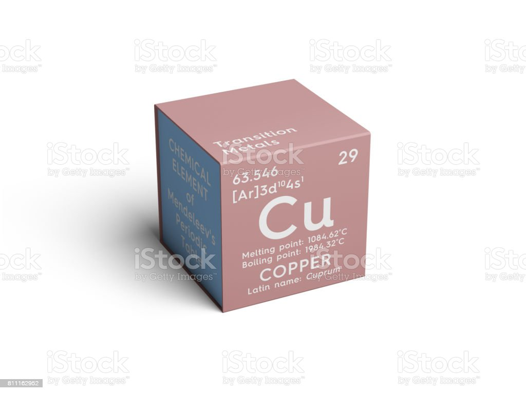 Copper. Cuprum. Transition metals. Chemical Element of Mendeleev's Periodic Table. stock photo