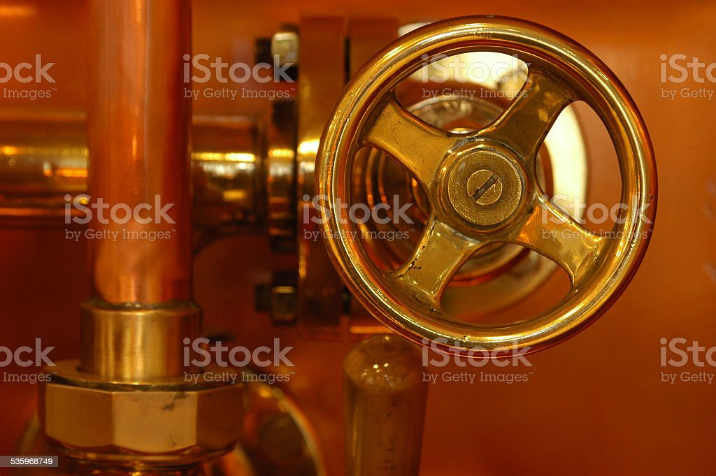 copper detail of brewery stock photo