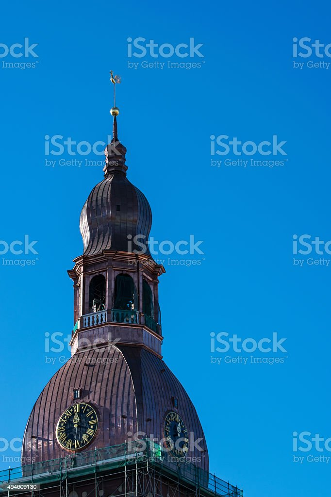 Copper Dome on Riga Cathedral under rennovation stock photo