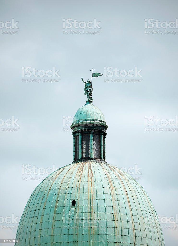 Copper dome on the church of San Simeon Piccolo, Venice stock photo