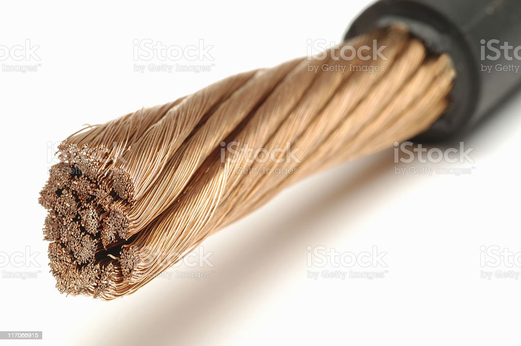 Copper electrical wire stock photo