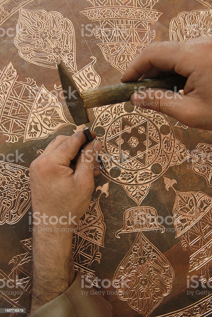 Copper engraving stock photo