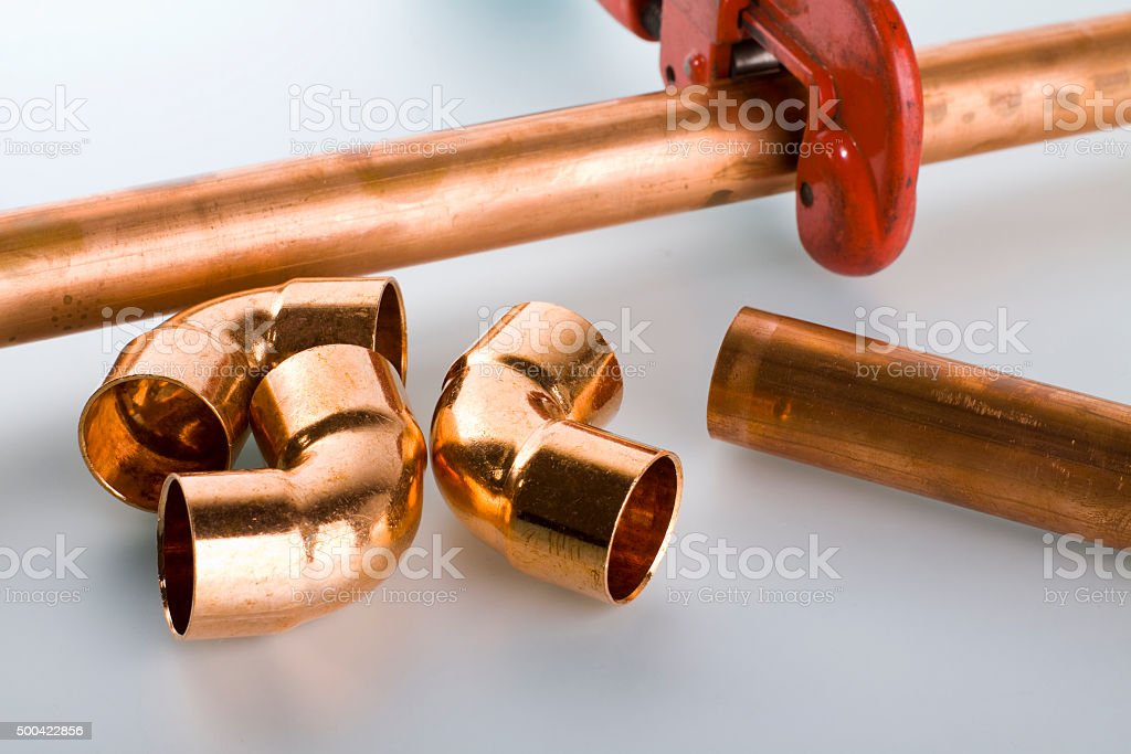 Copper fittings and pipe stock photo
