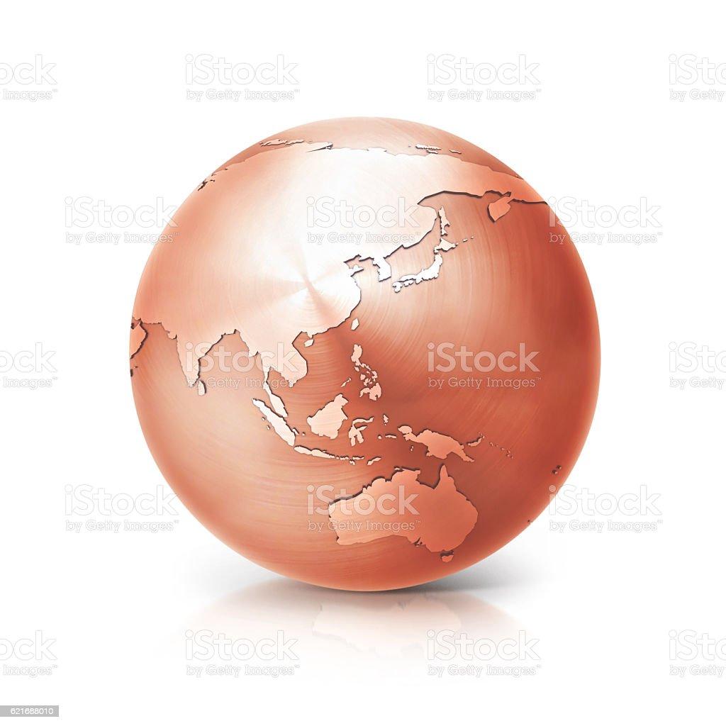 copper globe 3D illustration asia and australia map stock photo