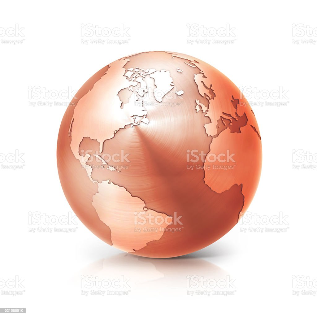 copper globe 3D illustration north and south america map stock photo