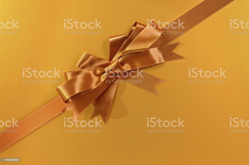 Copper gold gift ribbon stock photo