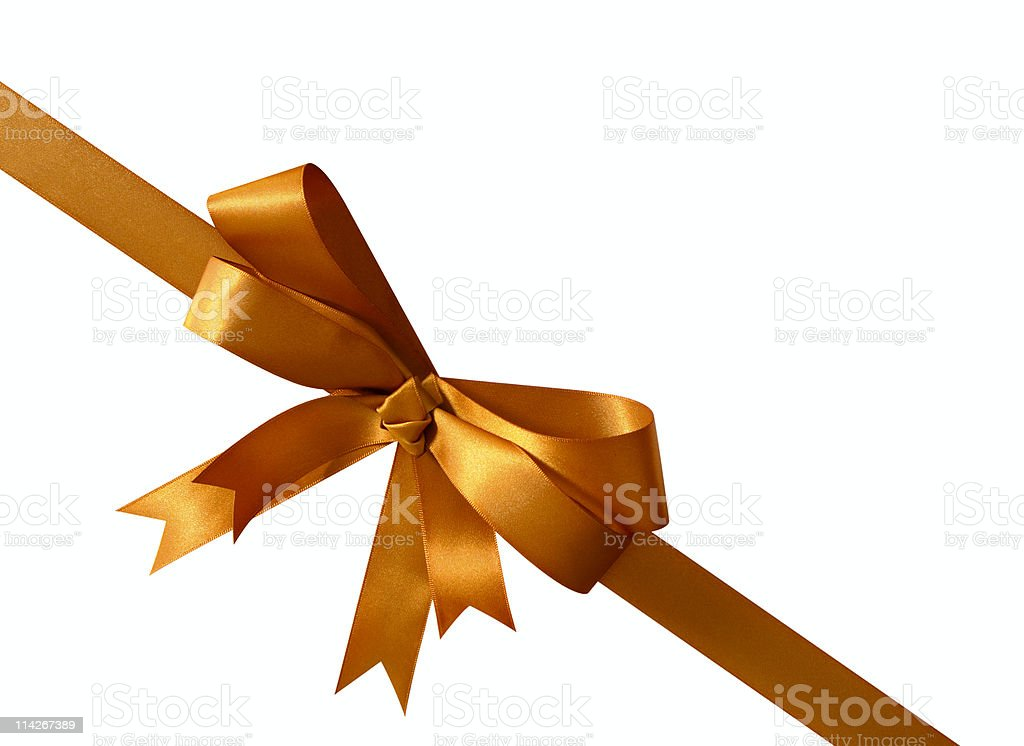 Copper gold isolated ribbon (with path) stock photo