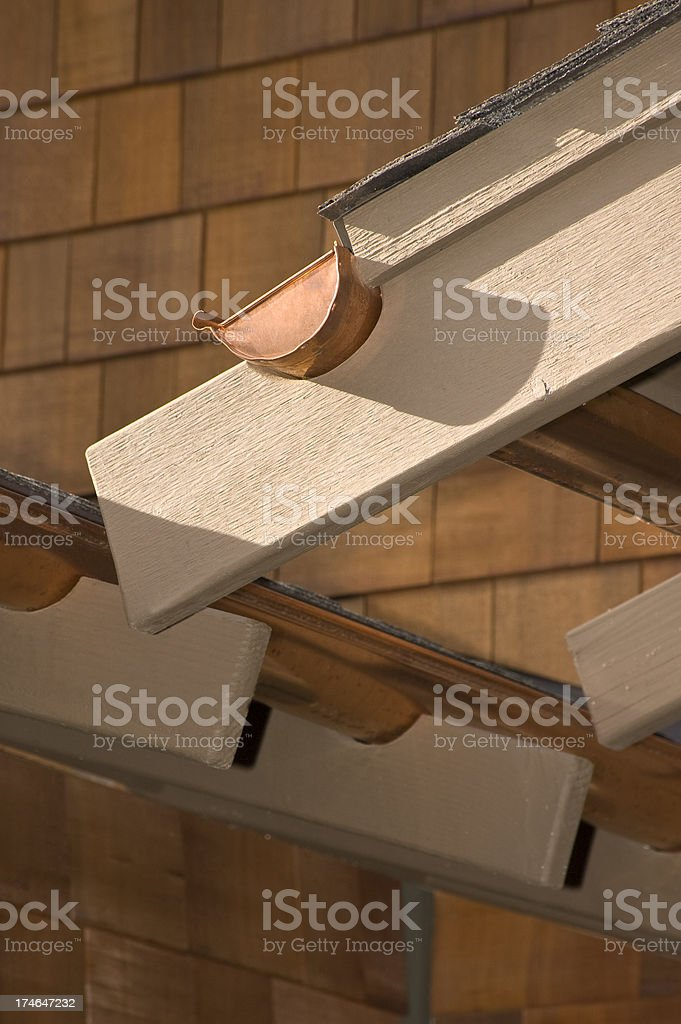 Copper gutters royalty-free stock photo