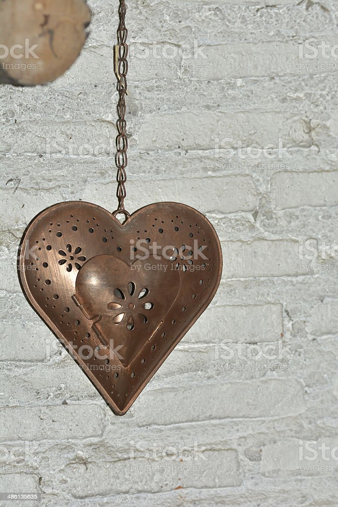 Copper heart royalty-free stock photo