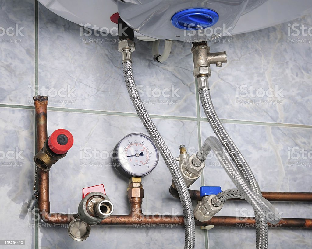 Copper heating pipes system close up royalty-free stock photo