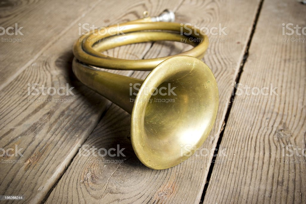 copper hunting horn royalty-free stock photo