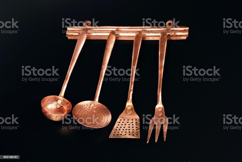 Copper Kitchen Cutlery stock photo