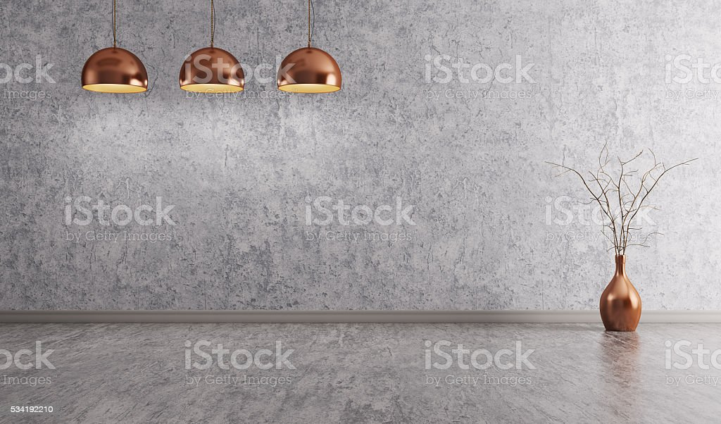 Copper lamps over concrete wall interior background 3d rendering stock photo