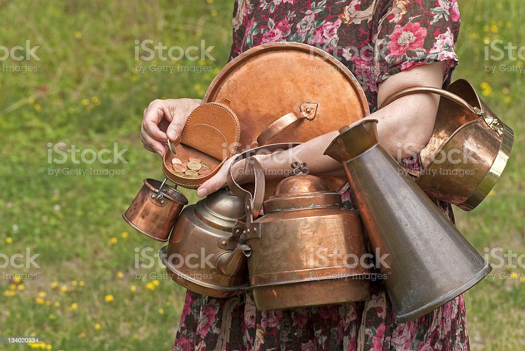 Copper lid, pot, ever from the past stock photo