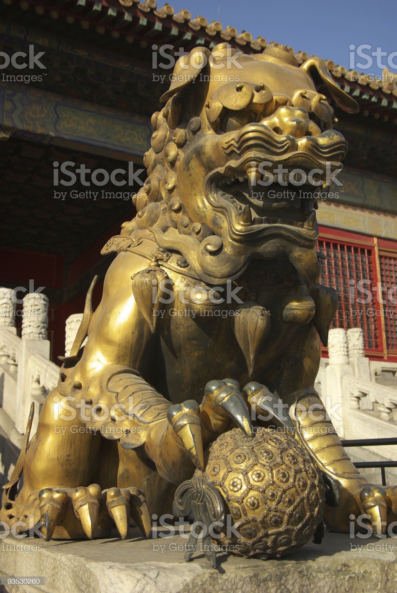 Copper Lion in  Forbidden City royalty-free stock photo
