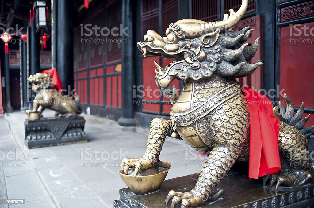 Copper lions, China stock photo