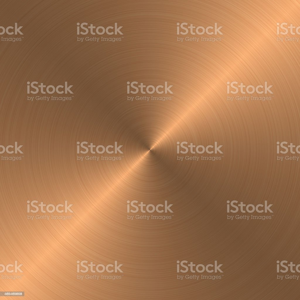 Copper metal with a circular pattern stock photo