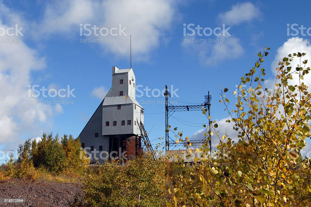 Copper mine shaft-rock house stock photo
